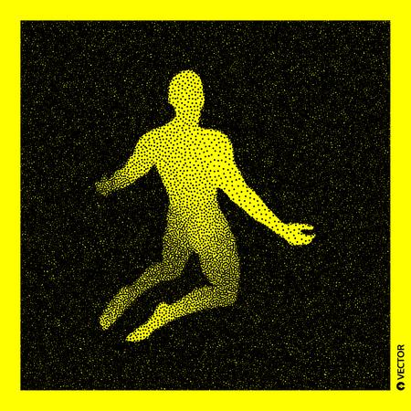 Man die bidt. 3D menselijk lichaamsmodel. Zwart en geel korrelig ontwerp. Gestippelde vectorillustratie.
