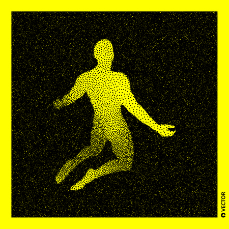 Man who prays. 3D Human Body Model. Black and yellow grainy design. Stippled vector illustration.