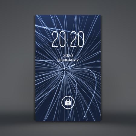 Modern lock screen for mobile apps. Smartphone. 3d grid background. Abstract vector illustration. Illustration