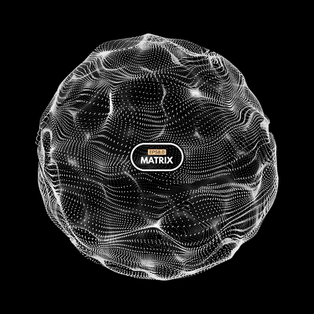 globe grid: 3d abstract sphere. Array with dynamic particles. Modern science and technology element. Vector illustration.