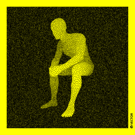 Sitting man. 3D Human Body Model. Black and yellow grainy design. Stippled vector illustration.