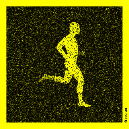 Running man. 3D Human Body Model. Black and yellow grainy design. Stippled vector illustration. Illustration