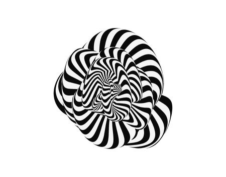 wormhole: Tunnel. Abstract 3D geometrical background. Black and white design. Pattern with optical illusion. Vector illustration.