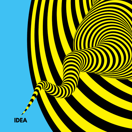 Idea. Abstract striped background. Optical illusion. 3D vector illustration.