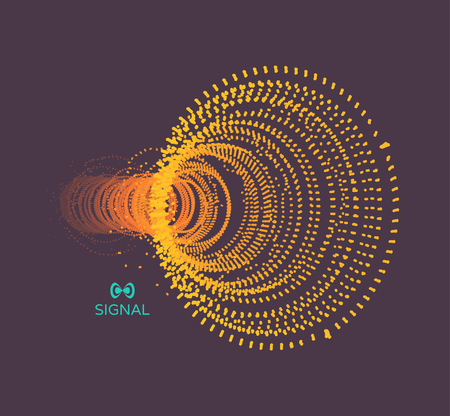 Array with dynamic particles. Vector sound wave. 3d technology style. Abstract background. Vector illustration. 向量圖像