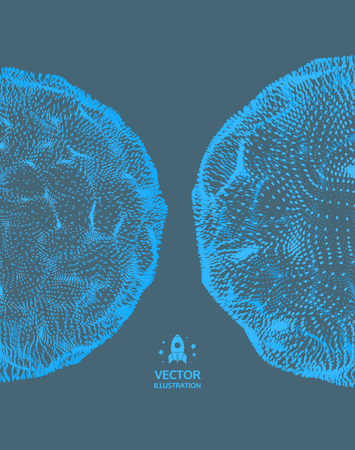 Sphere. Abstract grid design. 3D technology style. Vector Illustration.