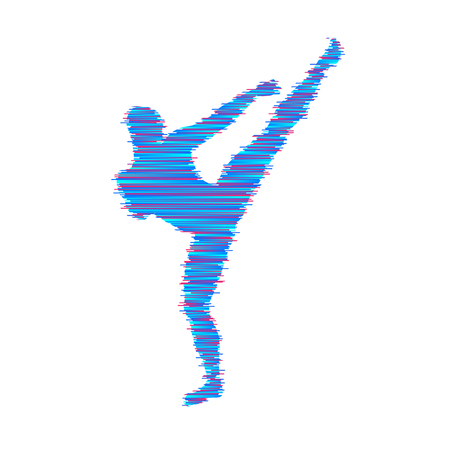 Kick box fighter preparing to execute a high kick. Silhouette of a fighting man. Design template for sport. Emblem for training. Illustration