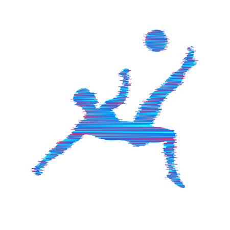 Football player with ball. Vector illustration. Sport symbol.  Illustration