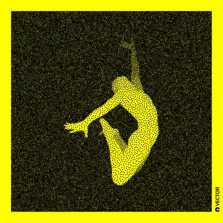 Gymnast Stippled vector illustration.