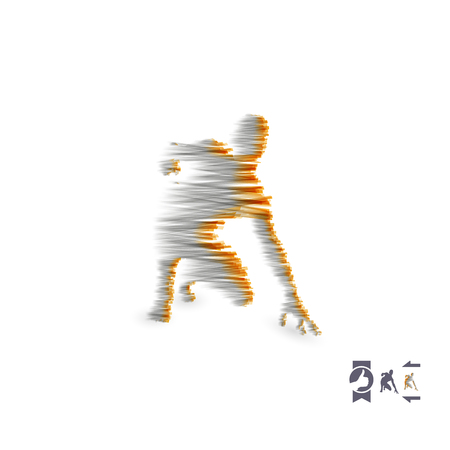 Athlete at starting position, ready to start a race 3d vector illustration. Illustration