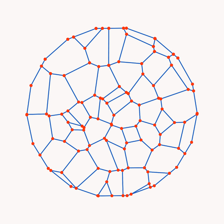 A circle composed of dots and lines Wire frame vector illustration Stock Illustratie