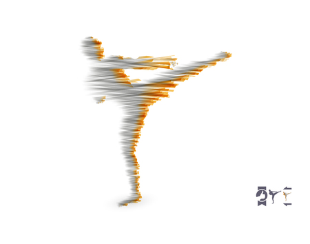 Kickbox 戦闘機の高いキックを実行する準備をしてします。戦う男のシルエット。スポーツ デザイン テンプレートです。トレーニングのエンブレム。