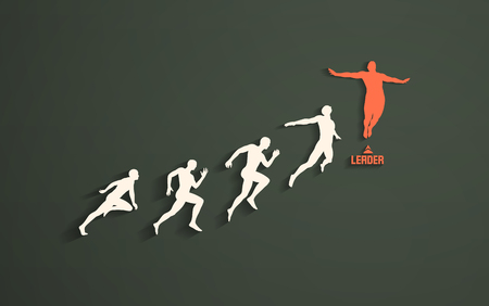 Leadership, freedom or happiness concept. Successful team leader. Vector illustration with people silhouette for business.  Illustration