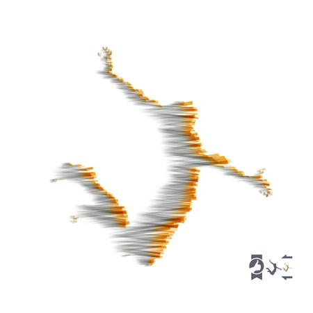 Концепция бизнеса, свободы или счастья. 3d модель человека. Модель человеческого тела. Векторные иллюстрации.