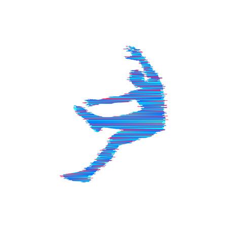 Man falling down. Jumping man. 3D model of man. Element for sport design. Vector illustration.