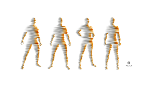 People standing in group. 3d human body model. Design element. Vector illustration.