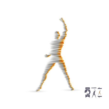 Leadership concept. Standing man. Human with arm up. Silhouette for sport championship. The victory celebration. Vector illustration.