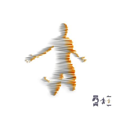 Man kneeling and praying to god. 3D Human body model. Design element. Vector illustration. Illustration