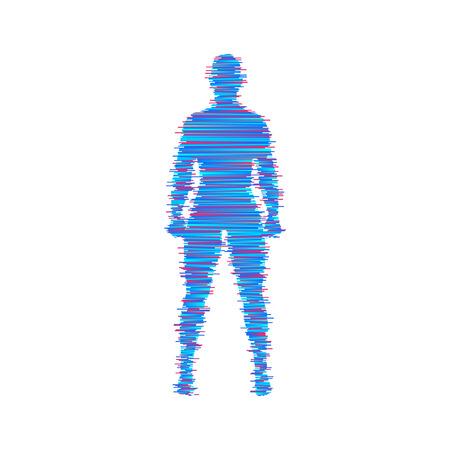 Standing man. 3d human body model. Design element. Man stands on his feet. Vector illustration.