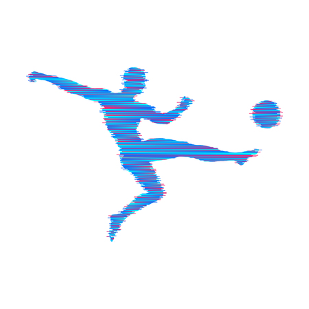 Football player with ball. Vector illustration. Sport symbol.