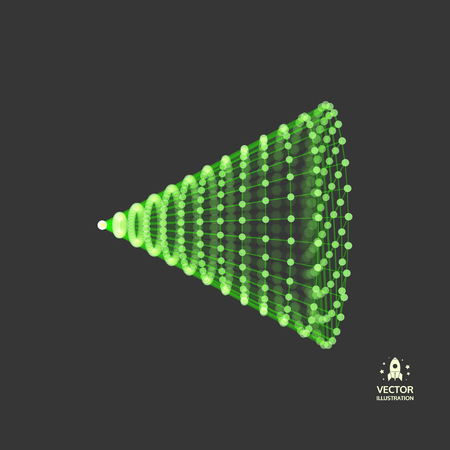 Cone with connected lines and dots. Abstract 3D connection structure. Geometric shape for design.
