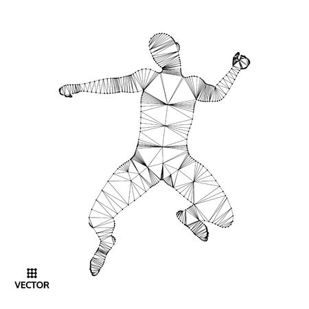 Leadership concept. Jumping man. Emblem for sport championship. Vector illustration.  Illustration