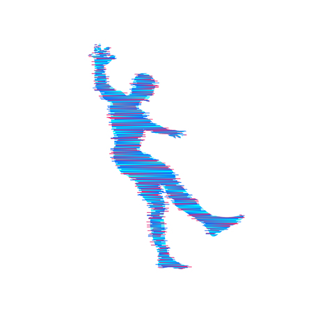 Man falling down, Jumping man in 3D model of man, Element for sport design illustration. Illustration