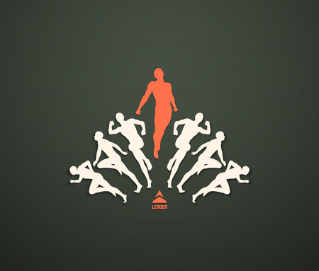 Leadership, freedom or happiness concept, Successful team leader, illustration with people silhouette for business.