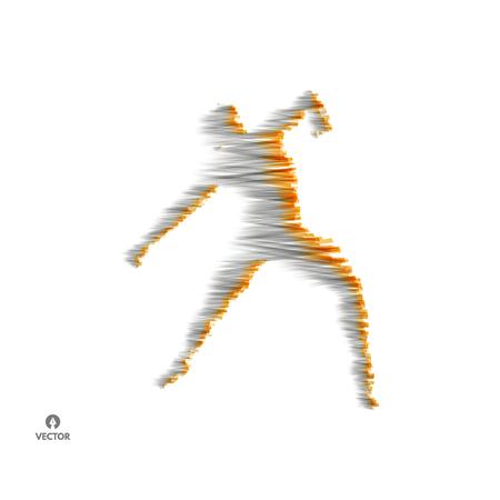 Man is posing and dancing. 3d model of man. Sport symbol. Vector illustration.