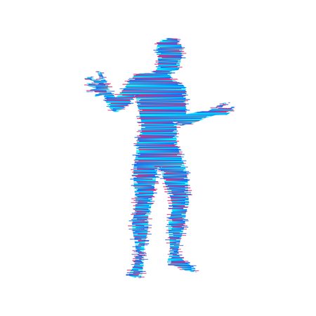 Man spreads hands to sides. Man doing balance gesture. Concept communication. Vector illustration.