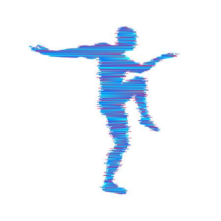 Gymnast. Man is posing and dancing. Sport symbol. Design element. Vector illustration. Vettoriali