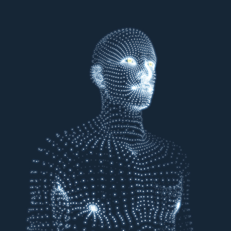 Man in a thinker pose. 3D model of man. Geometric design. Business, science, psychology or philosophy. Vector illustration.