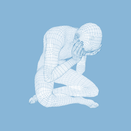 Miserable Depressed Man Sitting and Thinking. Man in a Thinker Pose. 3D Model of Man. Vector Illustration. Illustration