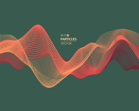 Fond de vague. Illustration vectorielle abstraite Style de technologie 3D. Illustration avec des points. Conception de réseau avec particule.