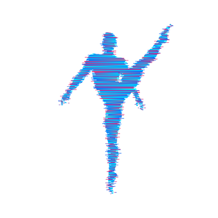 Man is posing and dancing. 3d model of man. Sport symbol. Vector illustration.