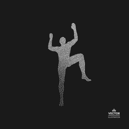 Rock climber silhouettes. Bouldering sport. Dotted silhouette of person. Vector illustration.  Illustration