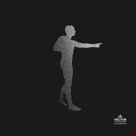 Man pointing his finger. Dotted silhouette of person vector illustration.