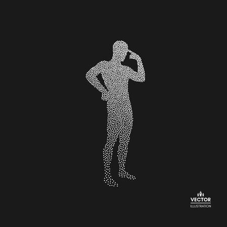 Thinking man, silhouette of a standing man. Dotted silhouette of person vector illustration.  イラスト・ベクター素材