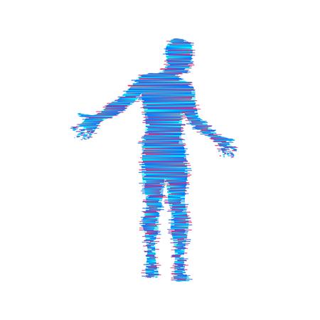 Man spreads hands to sides, man doing balance gesture. Concept communication vector illustration.