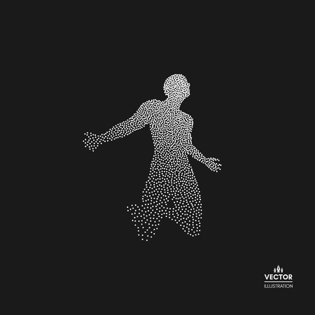 Man who prays. Dotted silhouette of person. Vector illustration.