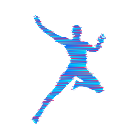 Man is posing and dancing. Sport symbol. Design element. Vector illustration.