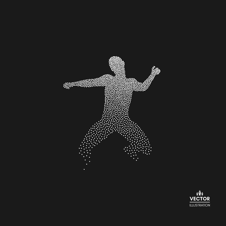 Business, freedom or happiness concept. Dotted silhouette of person. Vector illustration.  Illustration