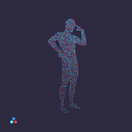 Thinking man. Silhouette of a standing man. Dotted silhouette of person. Vector illustration.