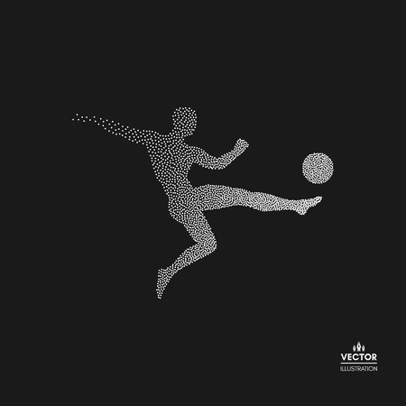 Football player with ball. Dotted silhouette of person. Vector illustration.