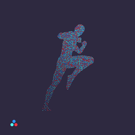 Kickbox fighter preparing to execute a high kick. Silhouette of a fighting man. Dotted silhouette of person. Vector illustration.  Иллюстрация