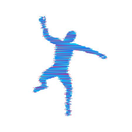 Geschäfts-, Freiheits- oder Glückkonzept. Modell 3d des Mannes. Modell des menschlichen Körpers. Vektor-illustration