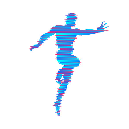 Vector man with hand up to stop. Human showing stop gesture. Silhouette of a standing man. Vector illustration.
