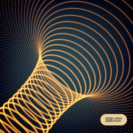 Abstract tunnel grid. Futuristic technology style. Array with dynamic particles. Vector illustration with dots.