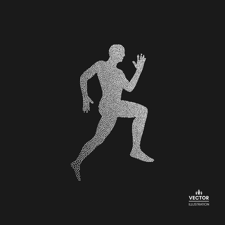 Running man. Design for sport, business, science and technology. Dotted silhouette of person. Vector illustration.