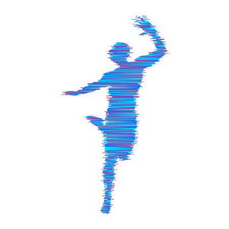 Gymnast. Man is posing and dancing. Sport symbol. Design element. Vector illustration. 向量圖像